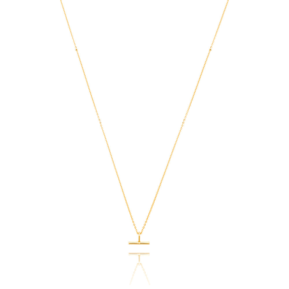 Mini T-Bar Necklace - Yellow Gold Plated Sterling Silver