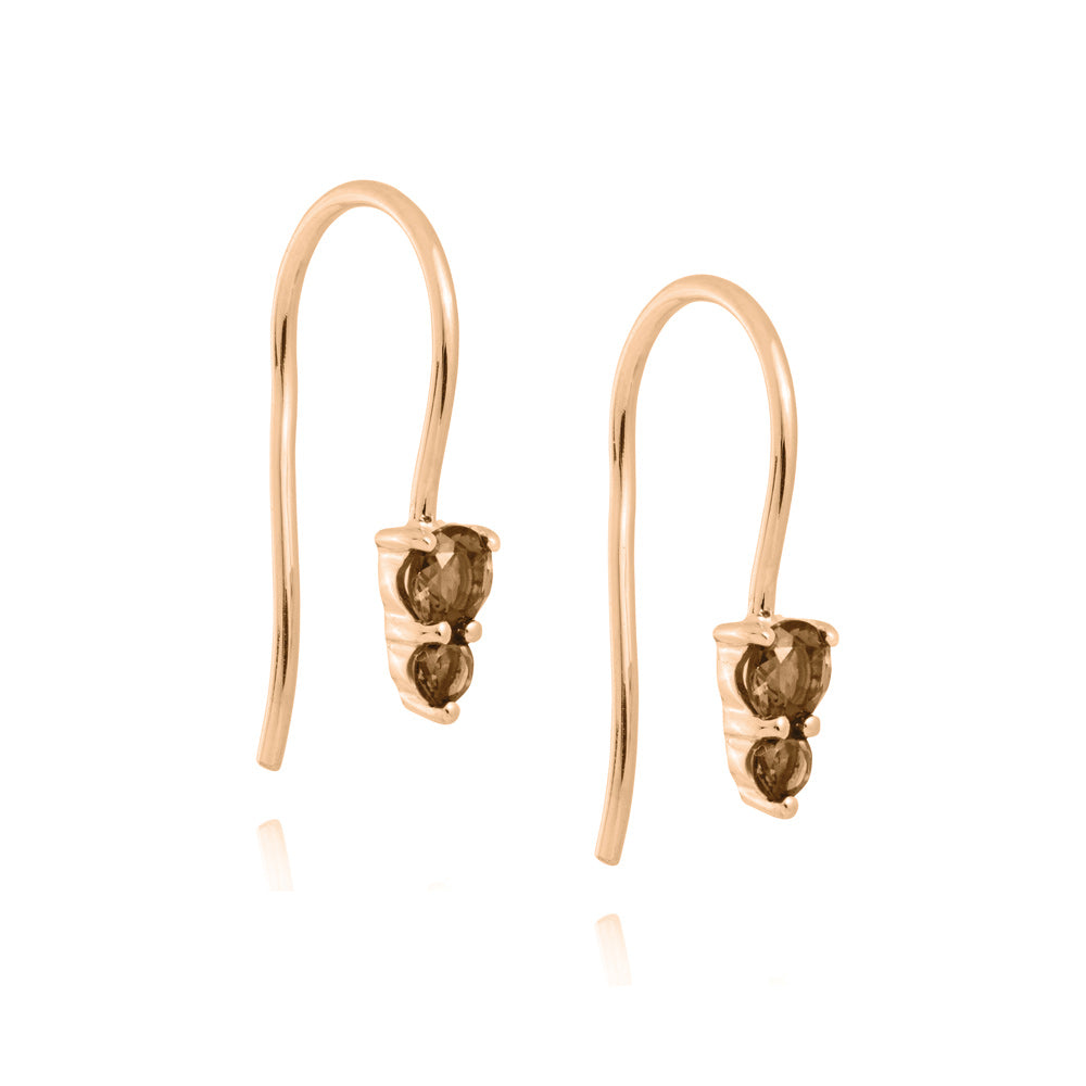 Binary Hook Earrings Smokey Quartz - Rose Gold Plated Sterling Silver