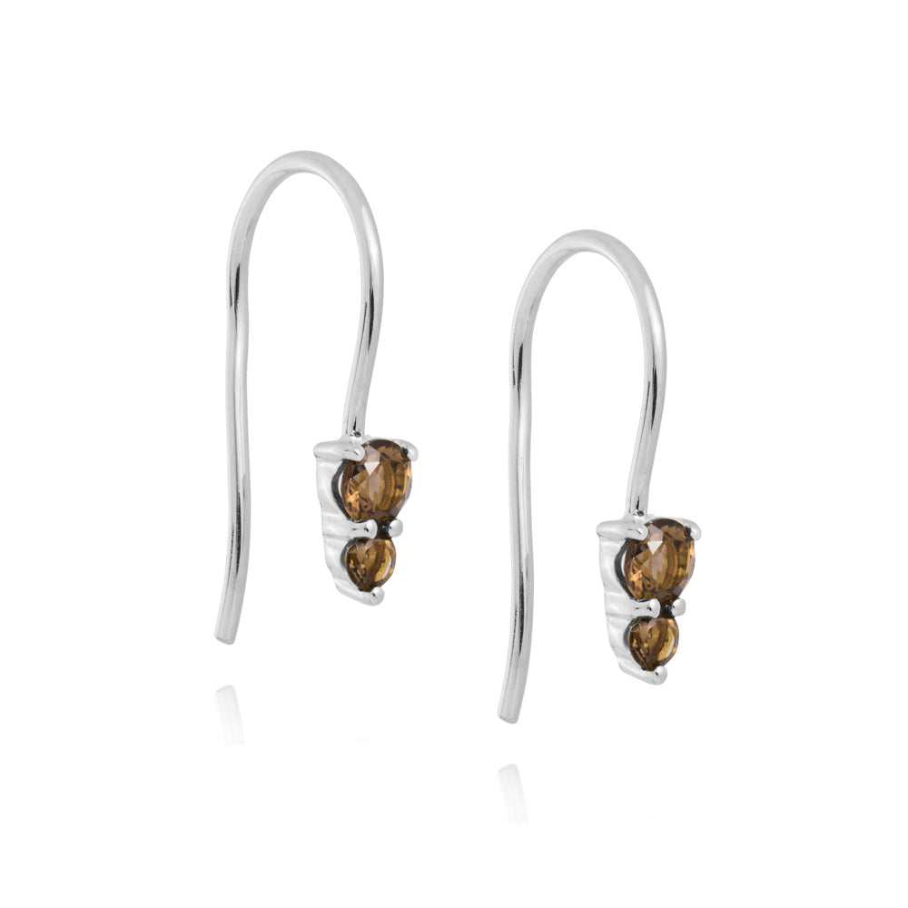 Binary Hook Earrings Smokey Quartz - Sterling Silver