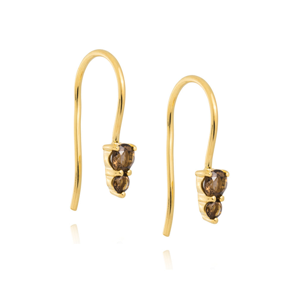 Binary Hook Earrings Smokey Quartz - Yellow Gold Plated Sterling Silver