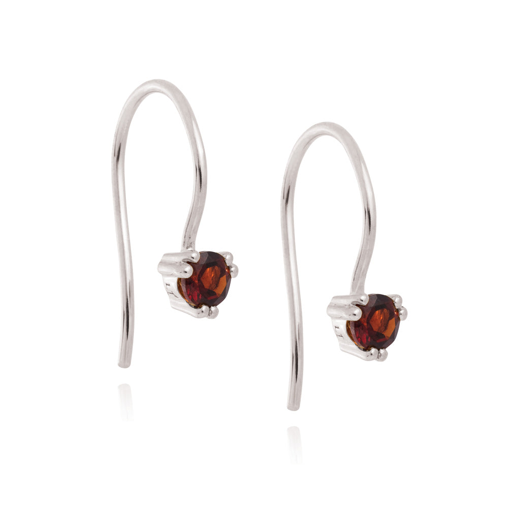 Maya Hook Earrings Garnet - Sterling Silver