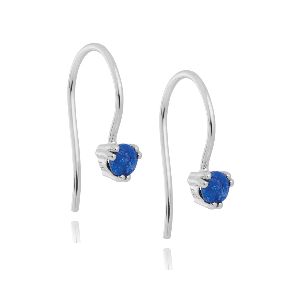 Maya Hook Earrings Lapis Lazuli - Sterling Silver