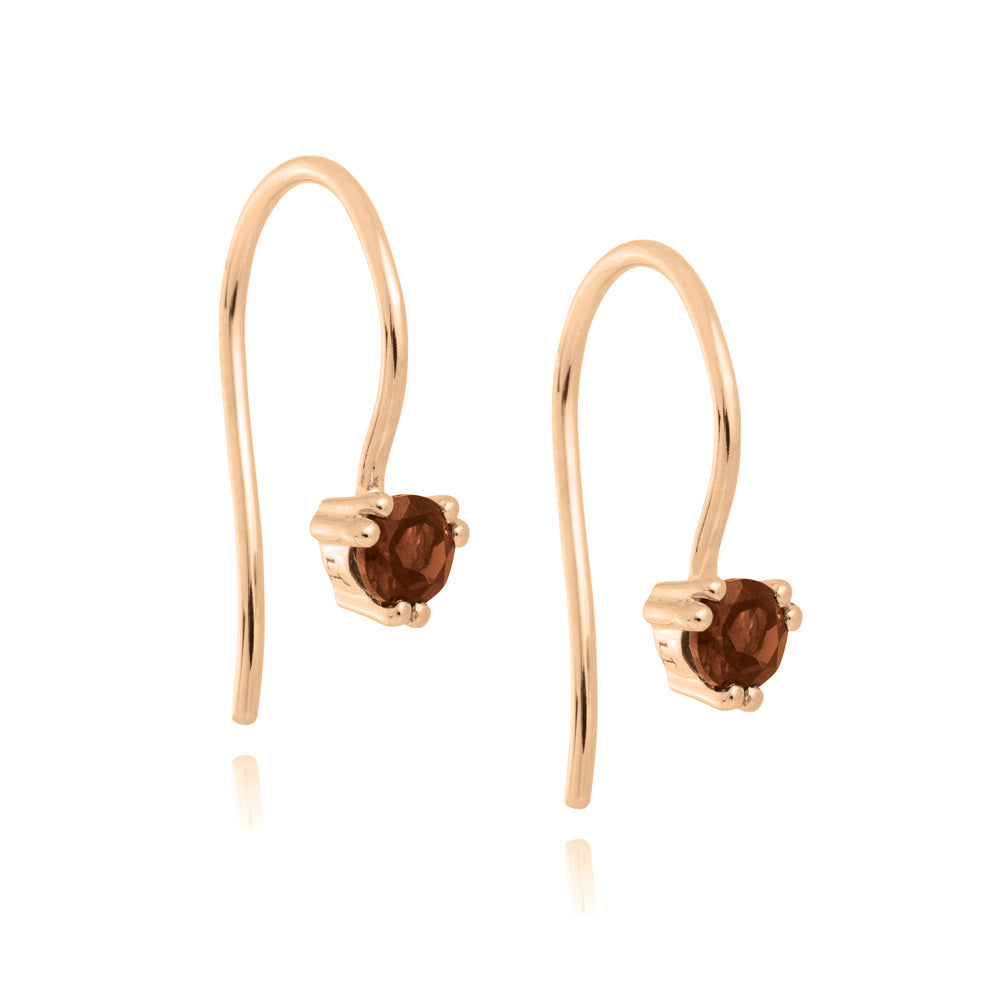 Maya Hook Earrings Garnet - Rose Gold Plated Sterling Silver