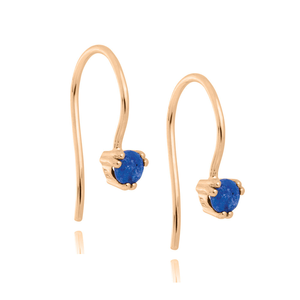 Maya Hook Earrings Lapis Lazuli - Rose Gold Plated Sterling Silver