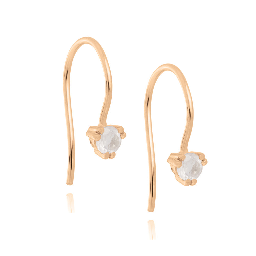 Maya Hook Earrings Rose Quartz - Rose Gold Plated Sterling Silver