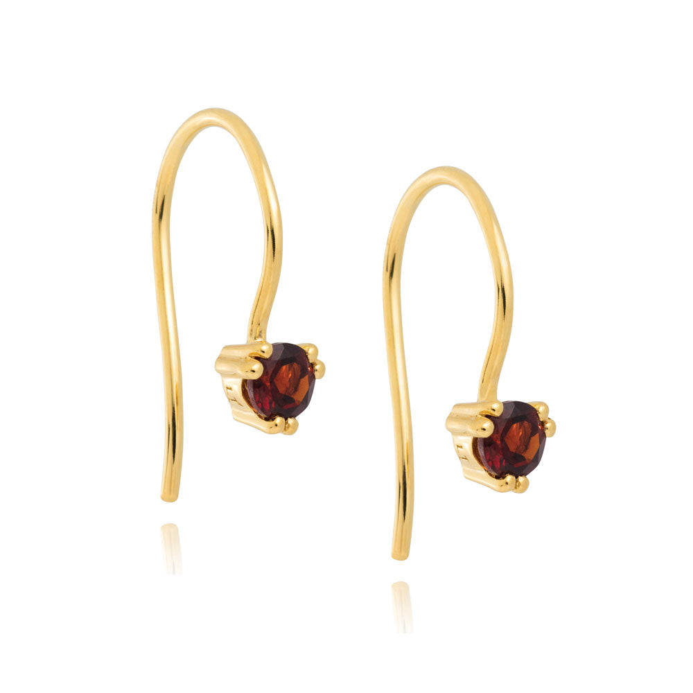 Maya Hook Earrings Garnet - Yellow Gold Plated Sterling Silver
