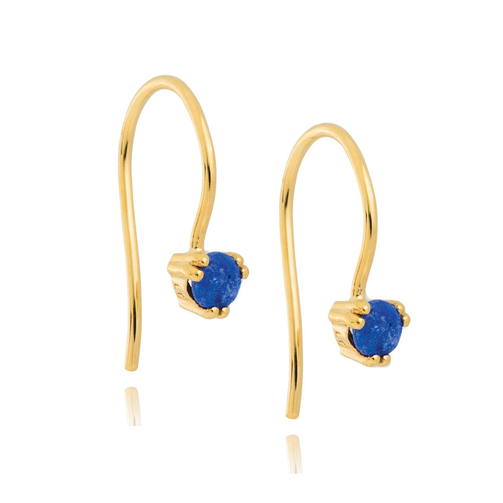 Maya Hook Earrings Lapis Lazuli - Yellow Gold Plated Sterling Silver
