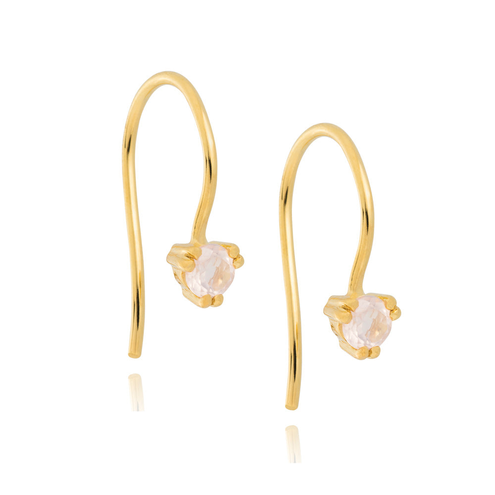 Maya Hook Earrings Rose Quartz - Yellow Gold Plated Sterling Silver