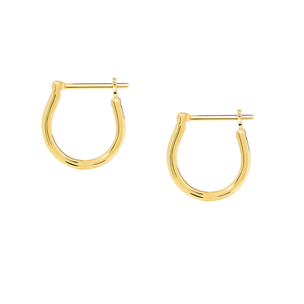 Basic Hoop Earrings - Sterling Silver with Yellow Gold Plating