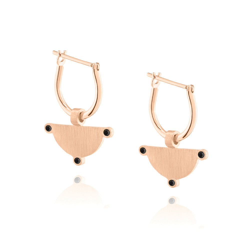 Power of Three Hoop Earrings - Rose Gold Plated Sterling Silver