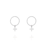 Cross Sleeper Hoop Earrings - Sterling Silver