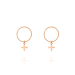 Cross Sleeper Hoop Earrings - Rose Gold Plated Sterling Silver