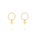 Cross Sleeper Hoop Earrings - Yellow Gold Plated Sterling Silver