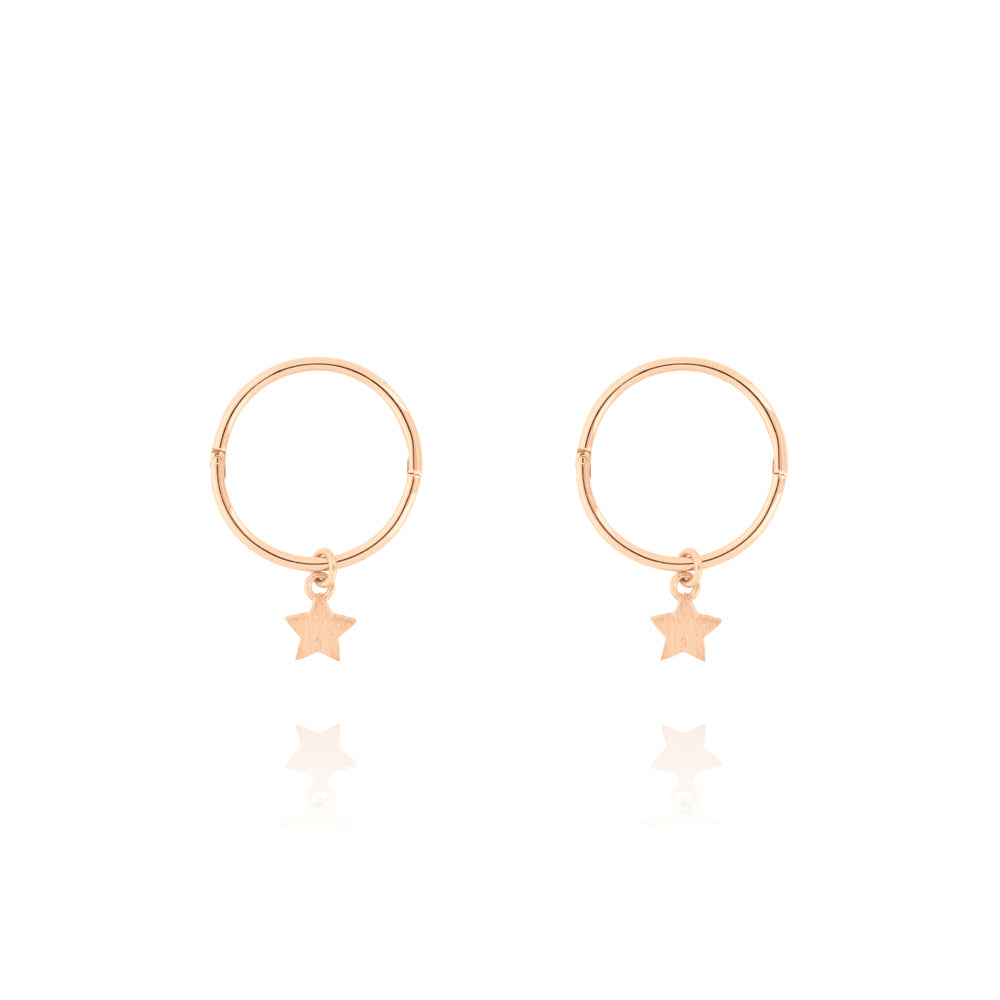 Tiny Star Sleeper Hoop Earrings - Rose Gold Plated Sterling Silver