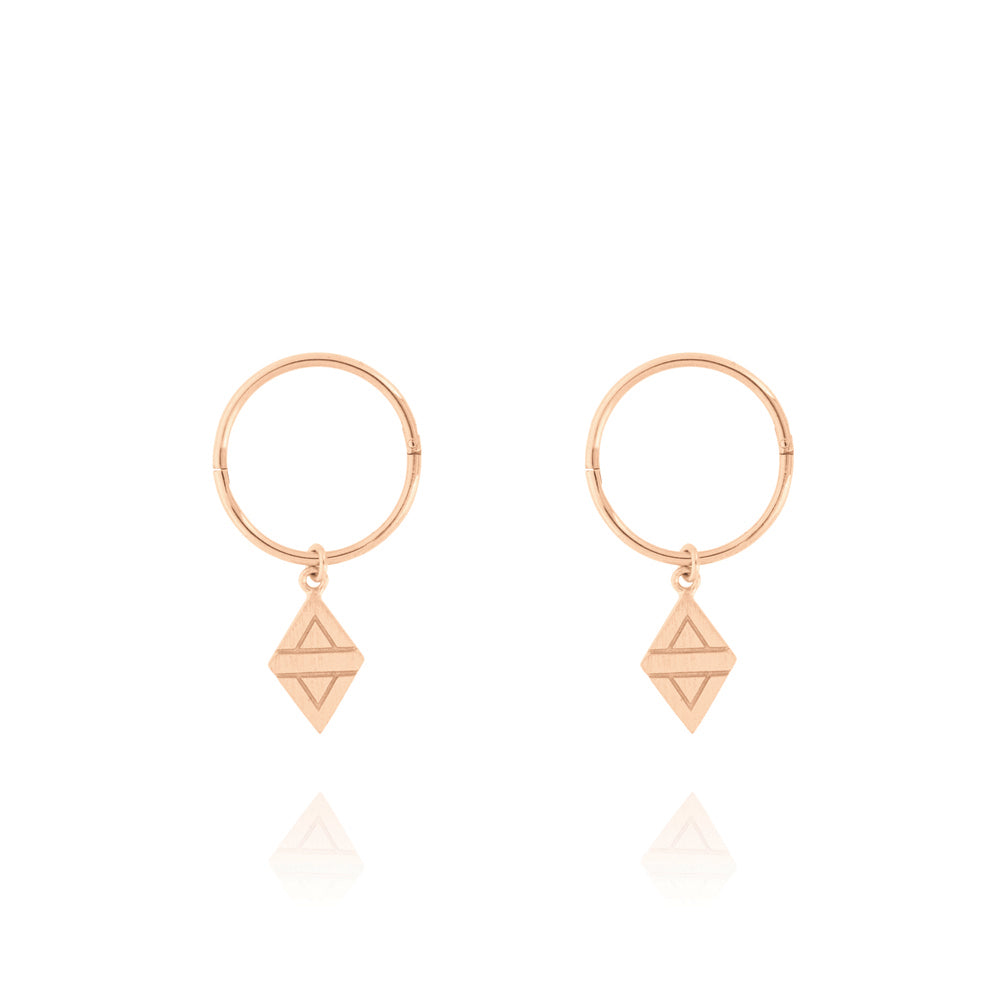 A New Dawn Sleeper Hoop Earrings - Rose Gold Plated Sterling Silver