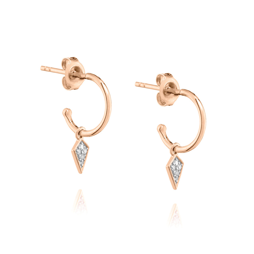 Diamond Kite Mini Hoop Earrings - 9k Rose Gold