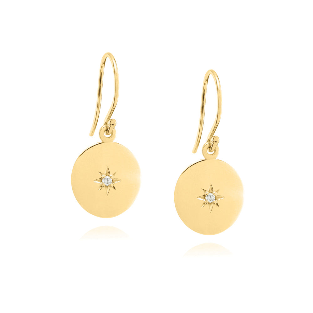 North Star Disc Earrings - Yellow Gold Plated Sterling Silver