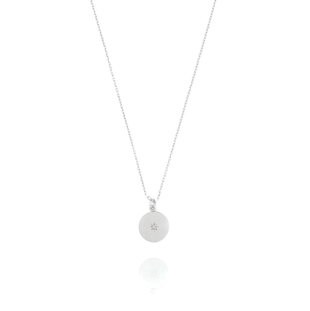 North Star Disc Necklace - Sterling Silver