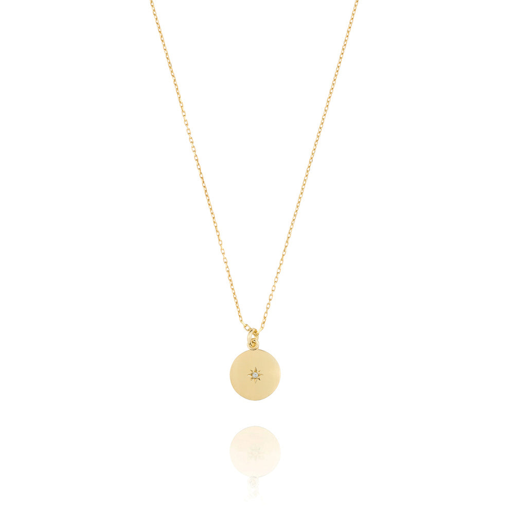 North Star Disc Necklace - Yellow Gold Plated Sterling Silver