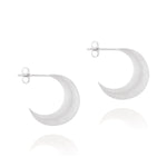 Crescent Moon Hoop Earrings - Sterling Silver