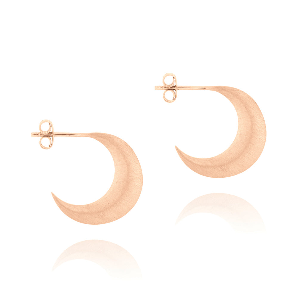 Crescent Moon Hoop Earrings - Rose Gold Plated Sterling Silver