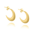 Crescent Moon Hoop Earrings - Yellow Gold Plated Sterling Silver
