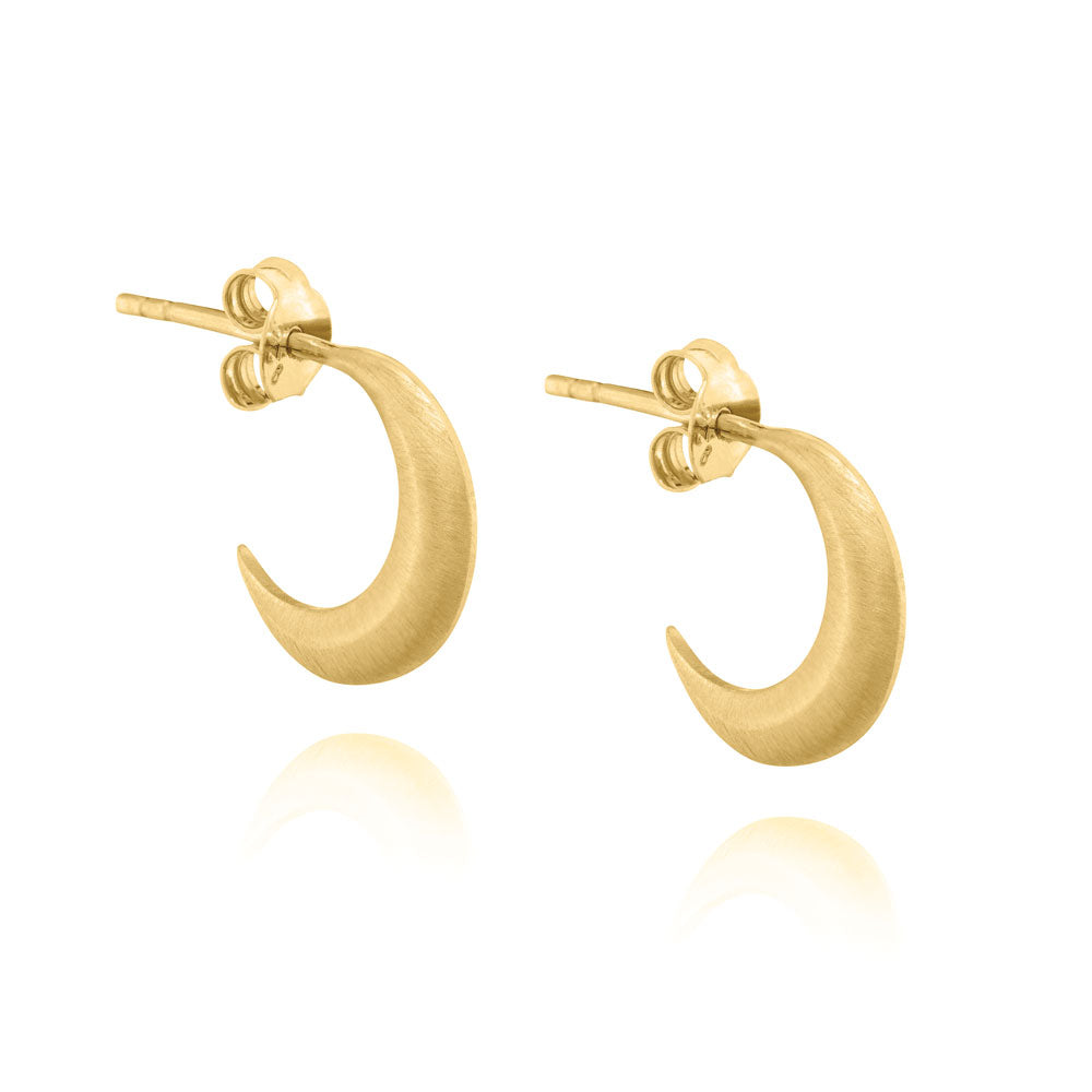 Mini Crescent Moon Hoop Earrings - Yellow Gold Plated Sterling Silver
