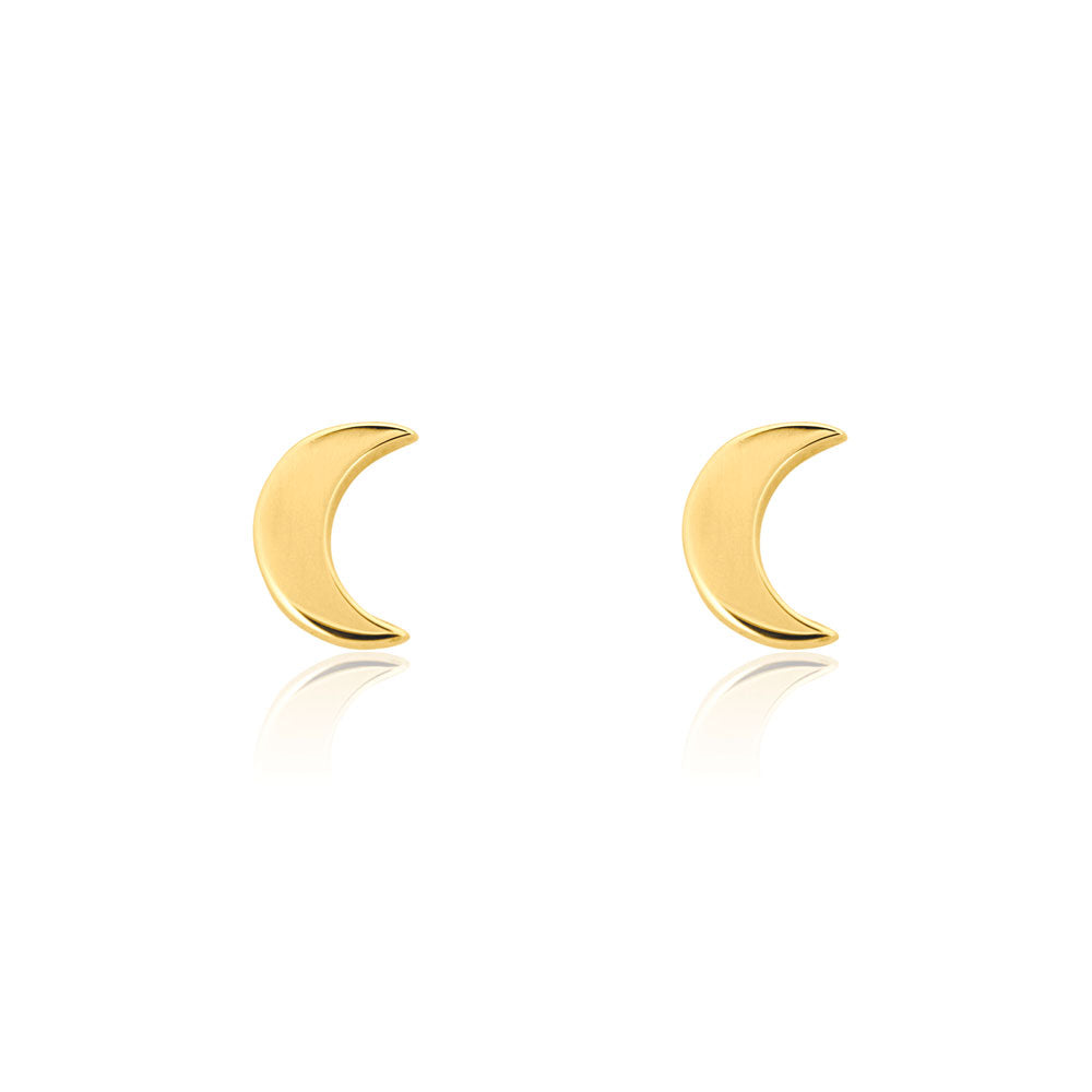 Moon Stud Earrings - Yellow Gold Plated Sterling Silver