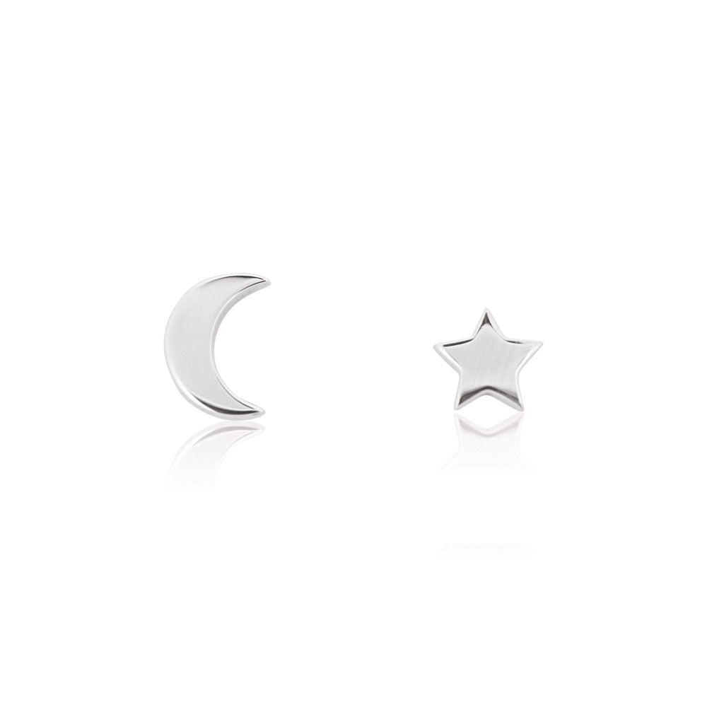 Star and Moon Stud Earrings - Sterling Silver