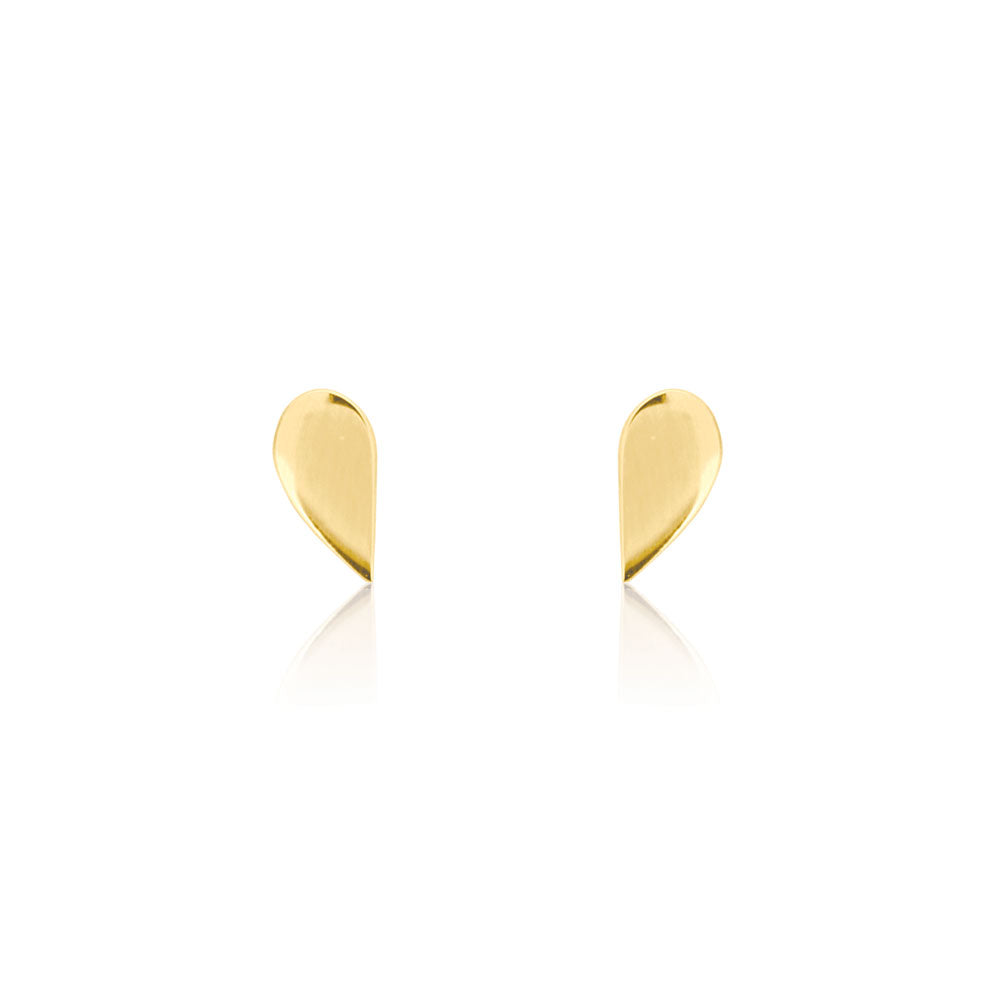 Half Stud Earrings - Yellow Gold Plated Sterling Silver