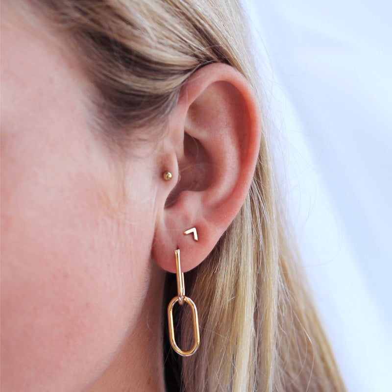 Linked Hoop Earrings - Yellow Gold Plated Sterling Silver