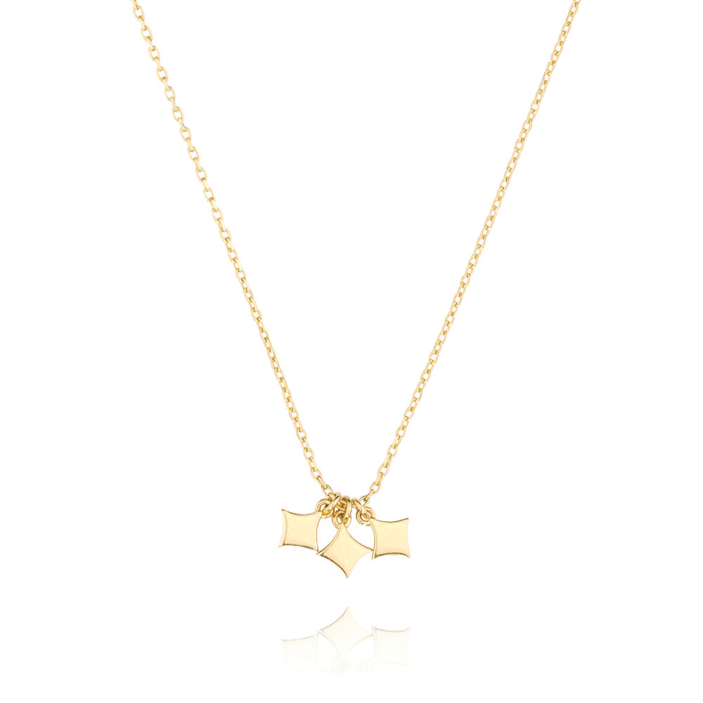 Night Star Choker Necklace - Yellow Gold Plated Sterling Silver
