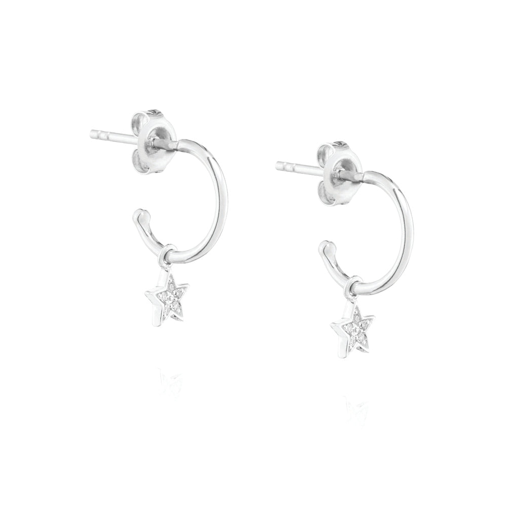 Diamond Star Mini Hoop Earrings - 9k White Gold