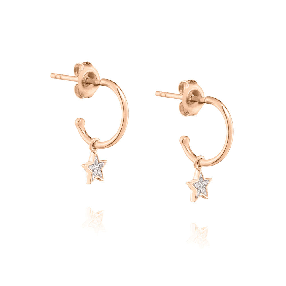 Diamond Star Mini Hoop Earrings - 9k Rose Gold