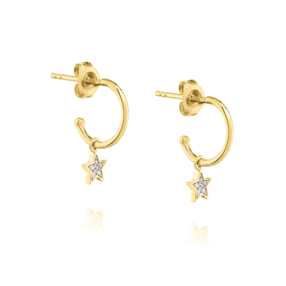 Diamond Star Mini Hoop Earrings - 9k Yellow Gold