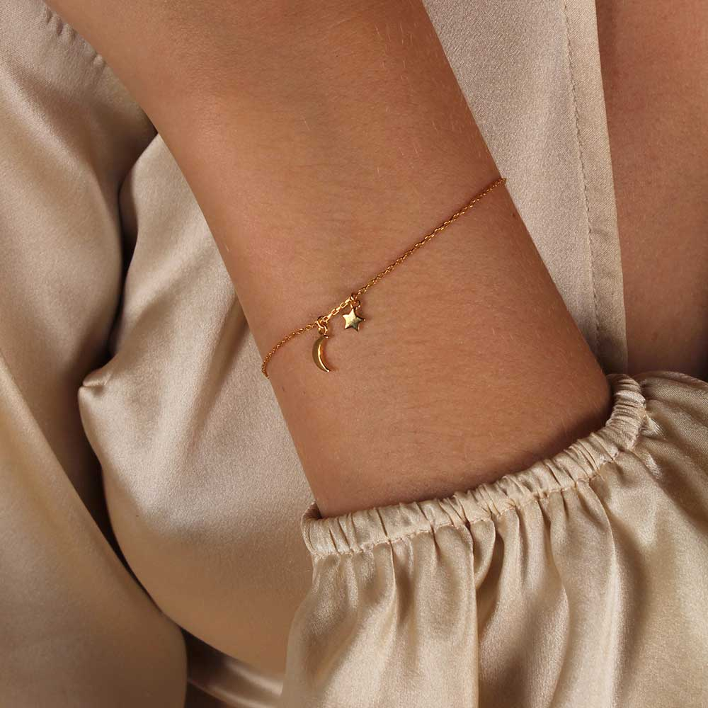 Star & Moon Bracelet - Yellow Gold Plated Sterling Silver