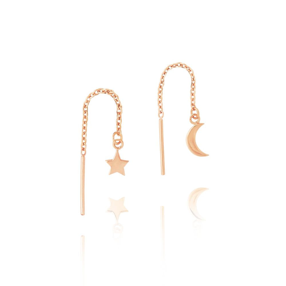 Star & Moon Thread Earrings - Rose Gold Plated Sterling Silver