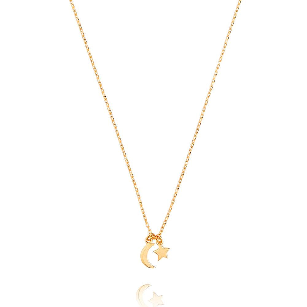 Star & Moon Necklace - Yellow Gold Plated Sterling Silver