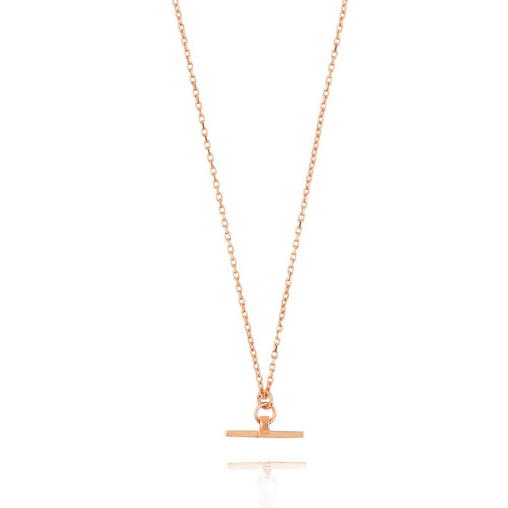 Valentina T-Bar Necklace - Rose Gold Plated Sterling Silver