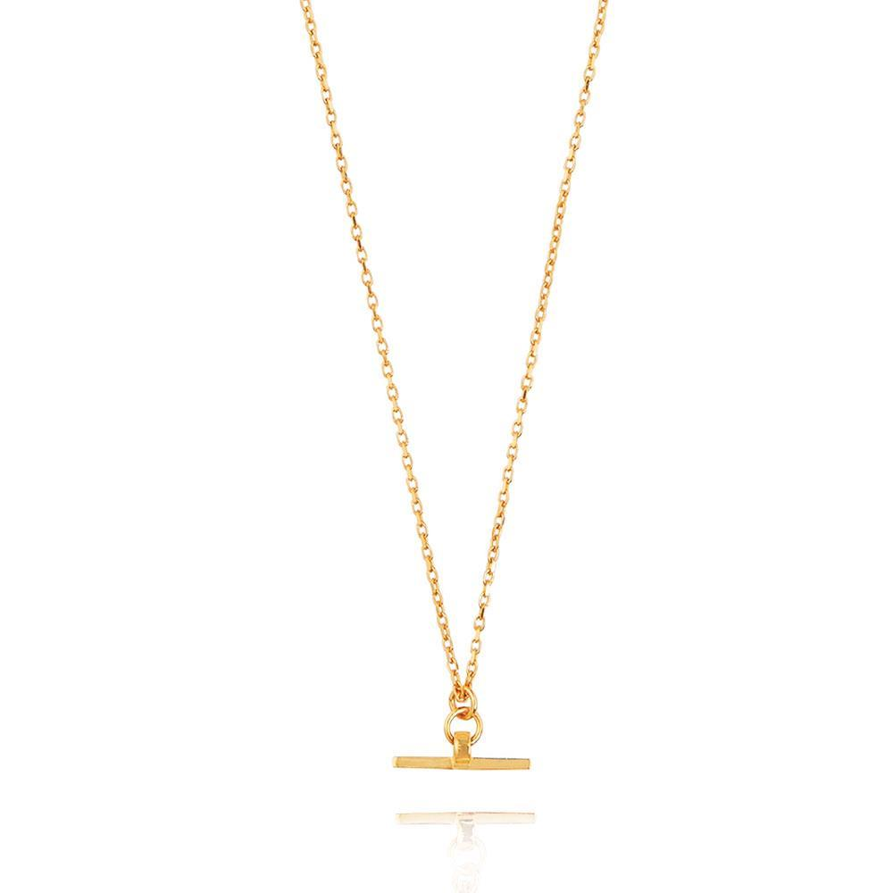 Valentina T-Bar Necklace - Yellow Gold Plated Sterling Silver