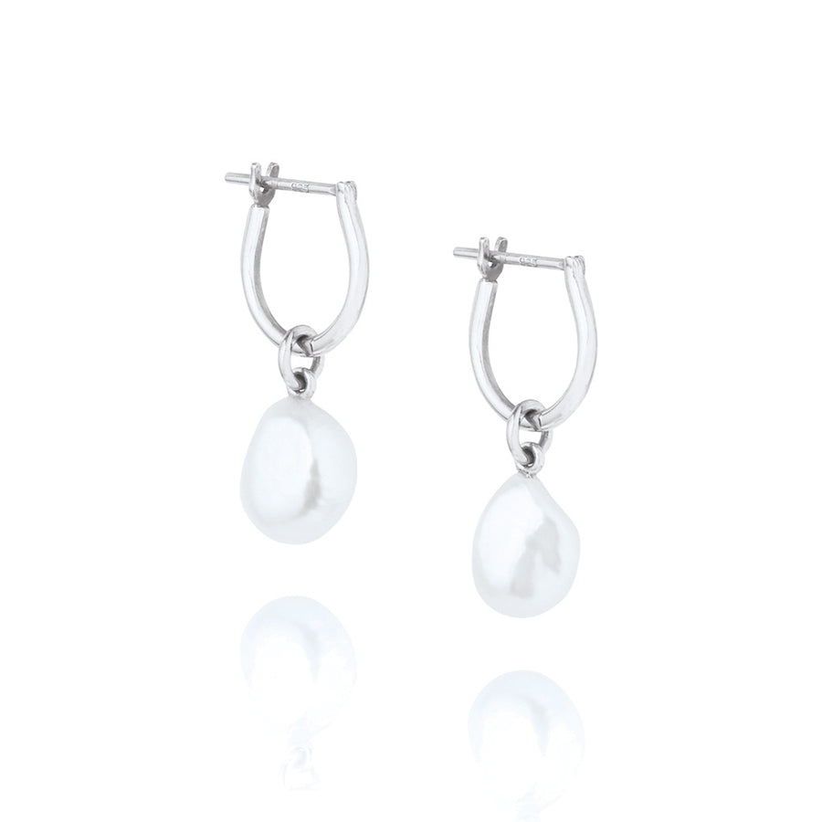 Baroque Pearl Basic Hoop Earrings