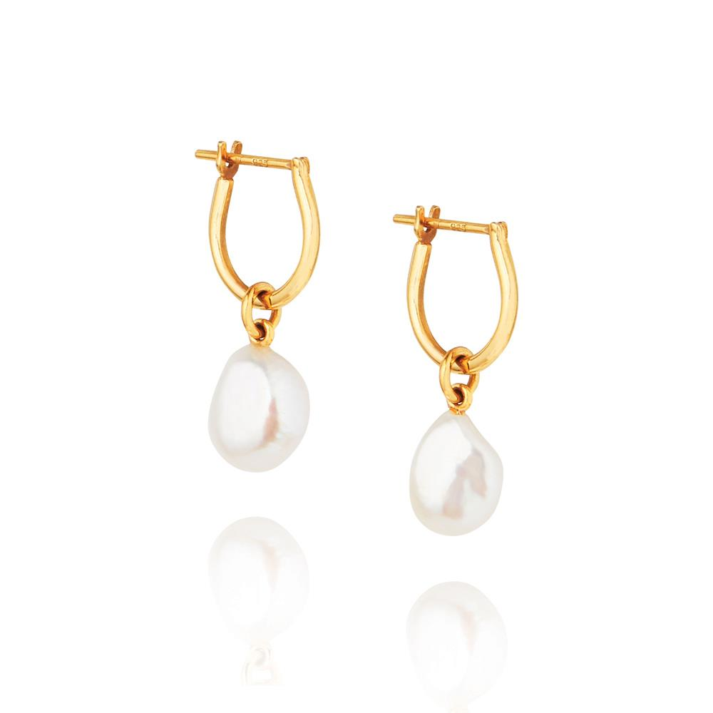 Baroque Pearl Basic Hoop Earrings - Yellow Gold Plated Sterling Silver