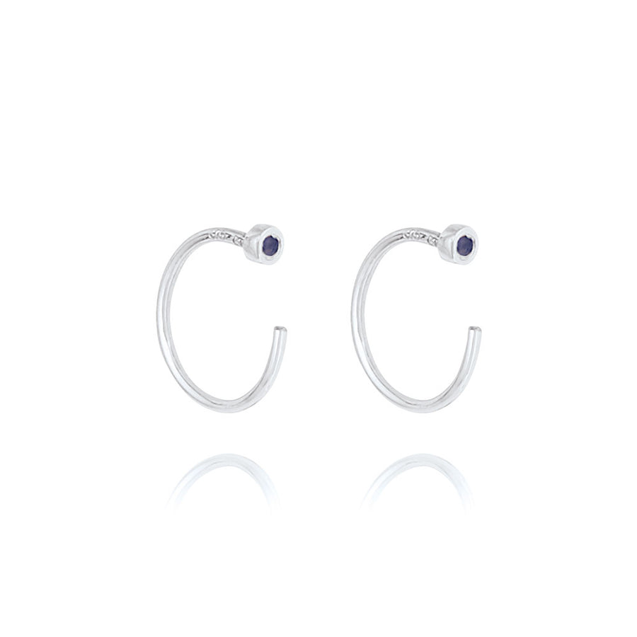 Sapphire Open Hoop Earrings - 9k