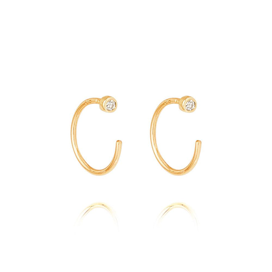 Diamond Open Hoop Earrings - 9k