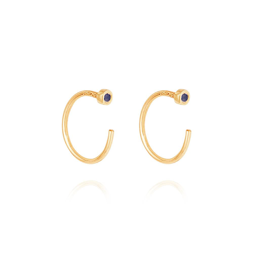 Sapphire Open Hoop Earrings - 9K Yellow Gold