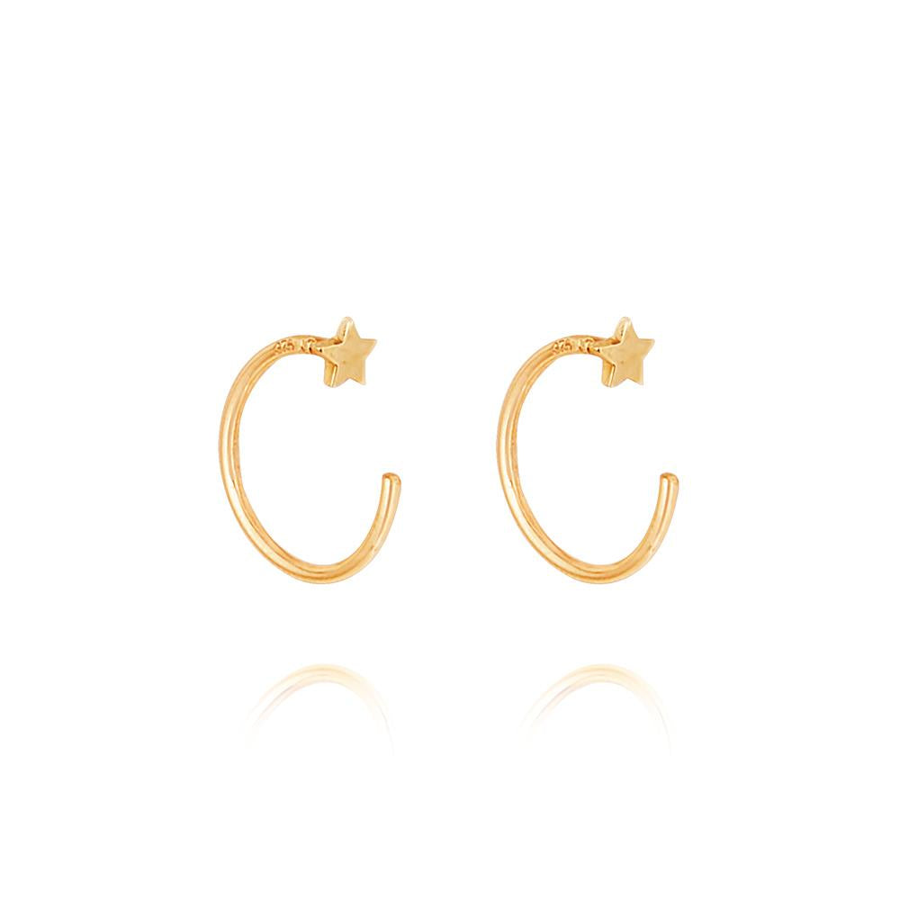 Micro Star Open Hoop Earrings - 9K Yellow Gold
