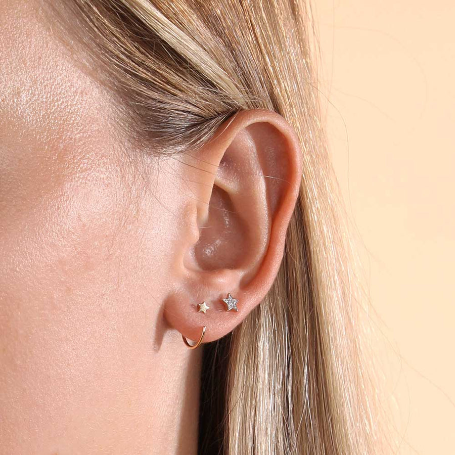 Micro Star Open Hoop Earrings - 9k