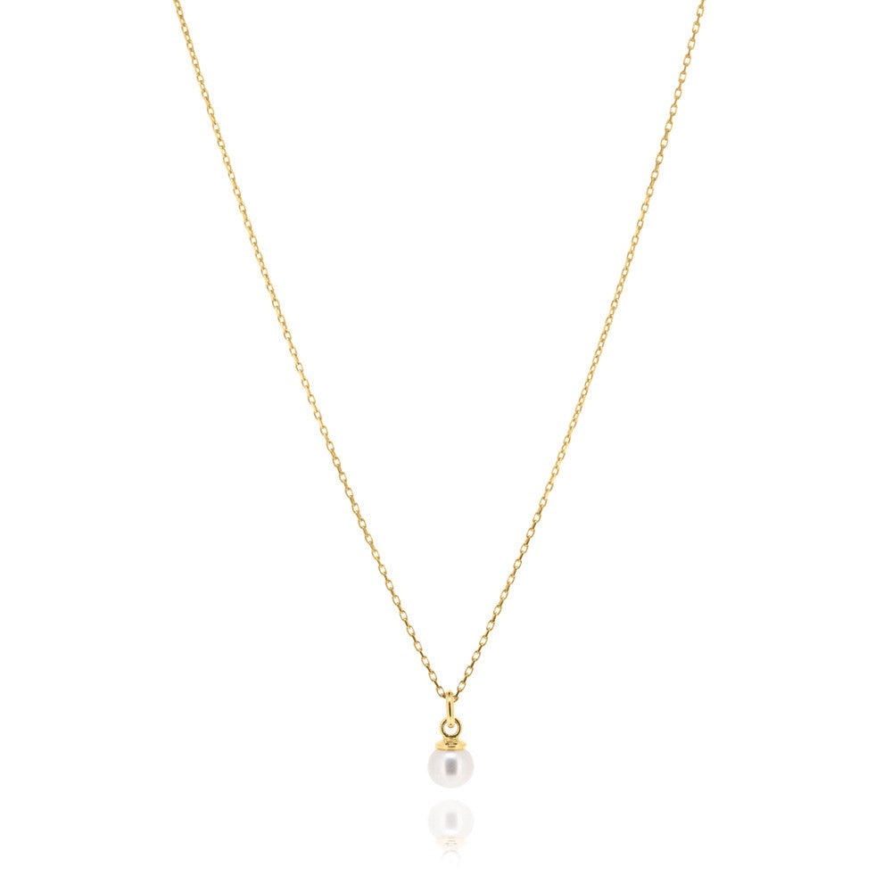 Cleo Pearl Necklace - Yellow Gold Plated Sterling Silver
