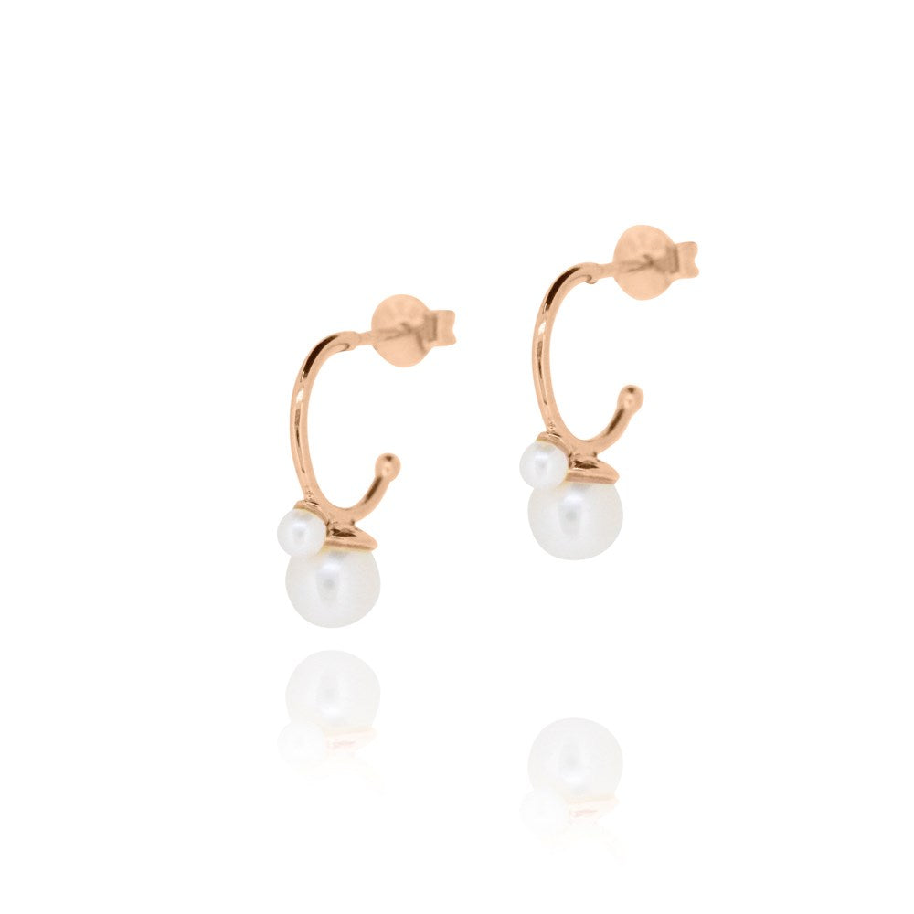 Cleo Double Pearl Hoop Earrings - Rose Gold Plated Sterling Silver
