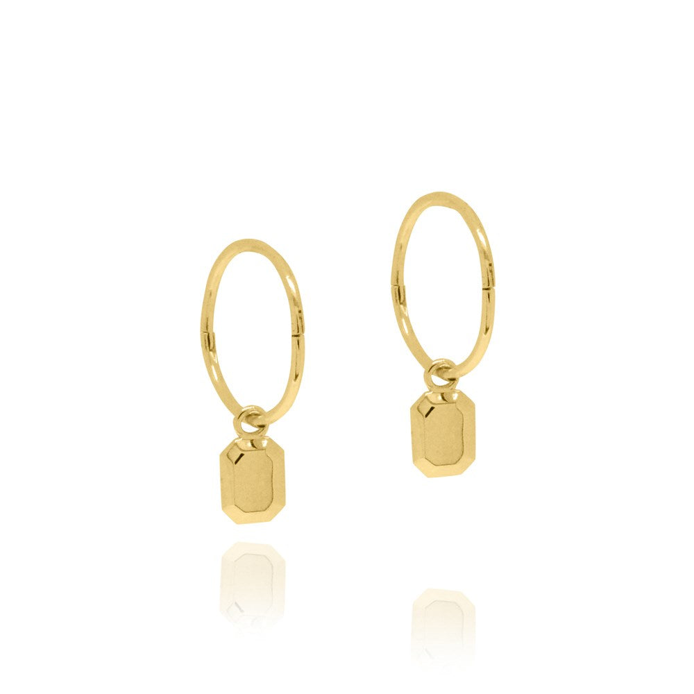 The Tate Sleeper Hoop Earrings - Yellow Gold Plated Sterling Silver